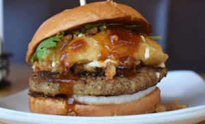6 oz. ground duck patty, tempura ginger cream cheese, green onion, cilantro, hoisin sweet and sour, onion