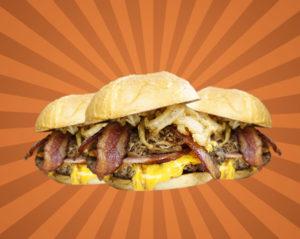 Three 3 little pigs burgers