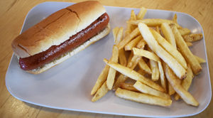 Hot Dog and fries on a plate