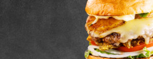 header featuring close up picture of a crave burger
