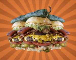 three cubano burgers