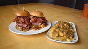 two three little pig burgers and fries