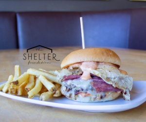 A reuban sandwhich sponsered by The Shelter Foundation