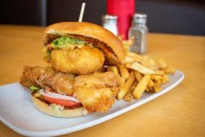 Jalapeno poppwer chicken sandwich and fries